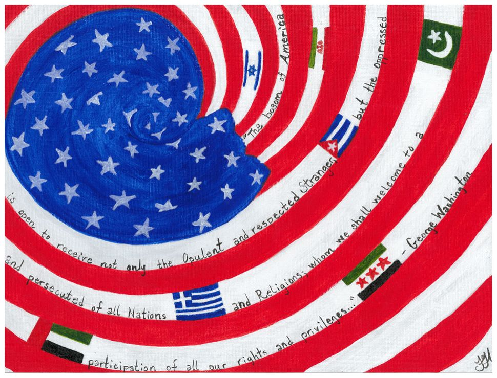 "Tammy Hirl, ""Immigration."" Acrylic on canvas board."