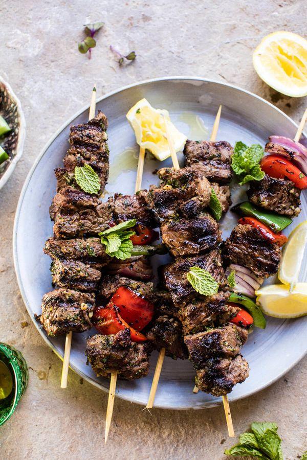 "<strong>Get the <a href=""https://www.halfbakedharvest.com/mediterranean-grilled-lamb-kebabs/"" target=""_blank"">Mediterranean G"
