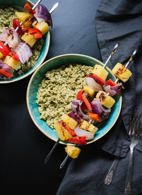 "<strong>Get the <a href=""http://cookieandkate.com/2015/freekeh-with-basil-cilantro-pesto-and-grilled-pineapple-skewers/"" targ"