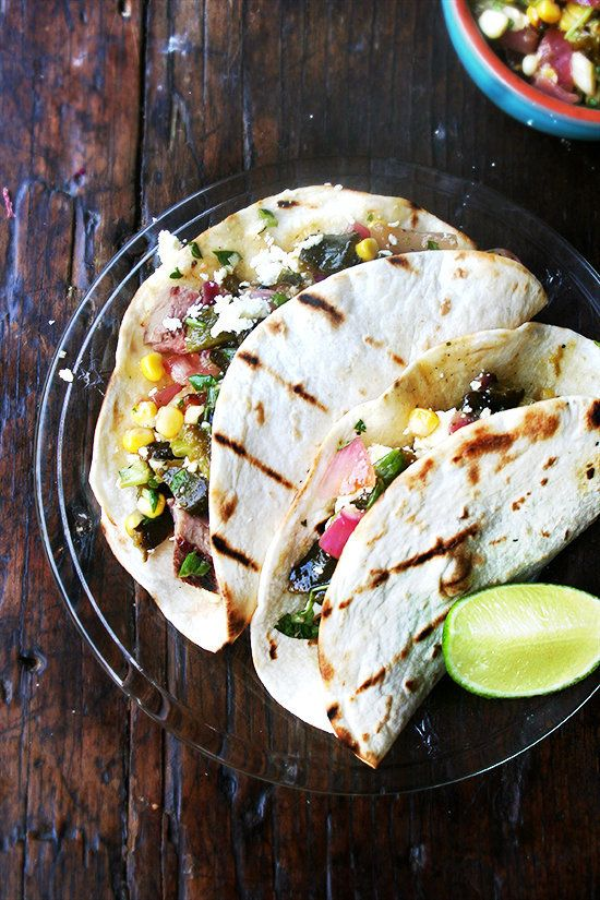 "<strong>Get the <a href=""http://www.alexandracooks.com/2014/06/11/tacos-with-grilled-poblano-corn-salad/"" target=""_blank"">Tac"