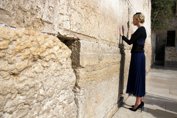 Ivanka Trump prays as she touches the Western Wall, Judaism's holiest prayer site, in Jerusalem's Old City May 22, 2017.
