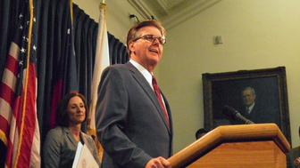 Texas Lieutenant Governor Dan Patrick speaks at a news conference on the introduction of a bill that would limit access to bathrooms and other facilities for transgender people at the State Capitol in Austin, Texas, U.S., January 5, 2017.   REUTERS/Jon Herskovitz