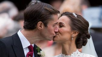 ENGLEFIELD GREEN, ENGLAND - MAY 20:  James Matthews and Pippa Middleton after their wedding at St Mark's Church on May 20, 2017 in Englefield Green, England.  (Photo by UK Press Pool/UK Press via Getty Images)