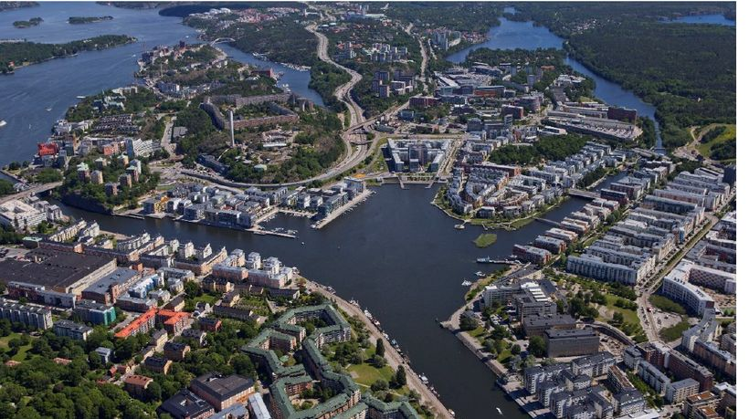 An aerial view of the eco-community, Hammarby Sjöstad .
