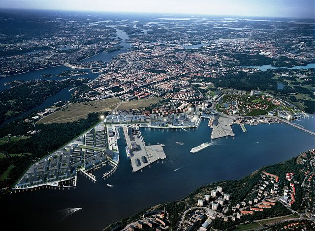 A rendering of the vision for the Stockholm Royal Seaport in 2030.