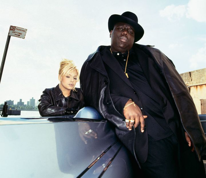 Faith Evans and The Notorious B.I.G. on the set of a 1994 magazine shoot.
