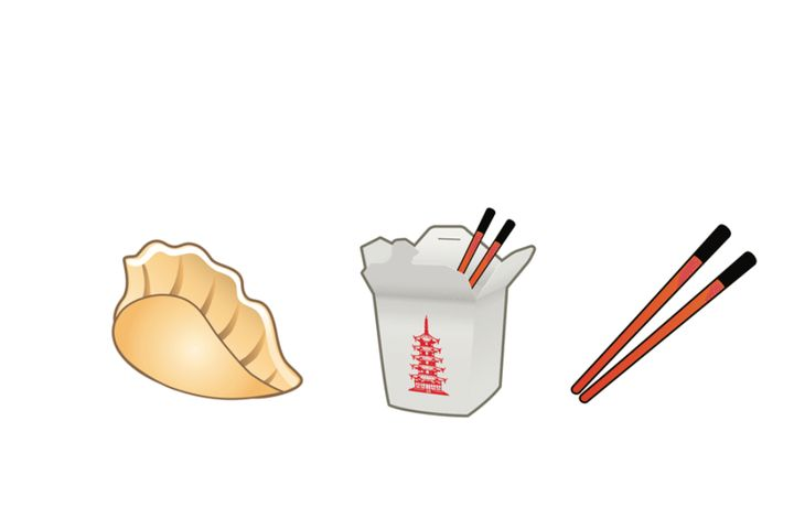 Yiying Lu's emoji depictions of chopsticks, a fortune cookie, a takeout box, and a dumpling will be available with the next e