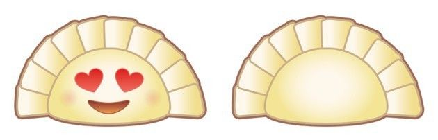Lu's first two designs of the dumpling emoji