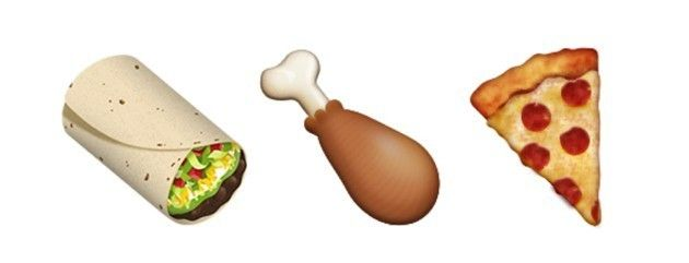 Emoji foods are often depicted at a 45-degree angle.