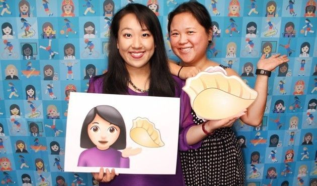 Yiying Lu and Jenny 8. Lee pose with Lu's dumpling design.