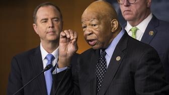 WASHINGTON, USA - MAY 17: Congressman Elijah Cummings speaks out against President Trumps handling of the firing of James Comey and his alleged attempted influence of the investigations of connections between the Trump Campaign and Russia with other Democratic Congressional Leaders in Washington, United States on May 17, 2017. (Photo by Samuel Corum/Anadolu Agency/Getty Images)