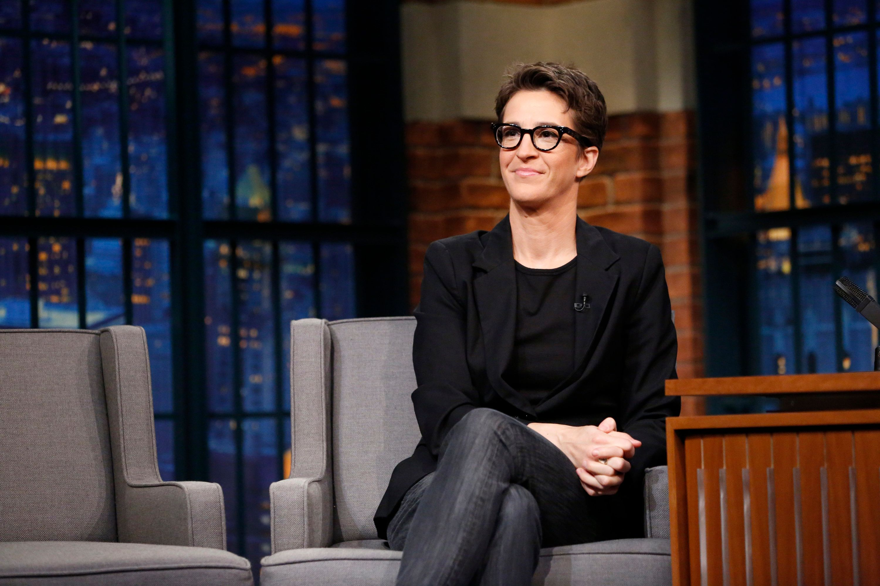 LATE NIGHT WITH SETH MEYERS -- Episode 466 -- Pictured: Political commentator, Rachel Maddow during an interview on December 21, 2016 -- (Photo by: Lloyd Bishop/NBC/NBCU Photo Bank via Getty Images)