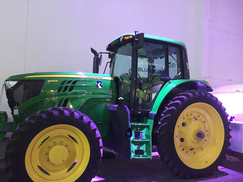 <em>John Deere tractor powered by Blue River Technology at the NVIDIA GTC </em>