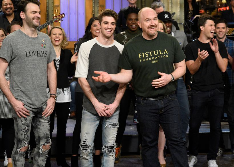 Louis CK wears a Fistula Foundation t-shirt while hosting <em>Saturday Night Live </em>in April, 2017.
