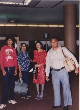 Pictured is Chahal's father, with his father's sister, aunt, and uncle in an airport in San Francisco, CA.