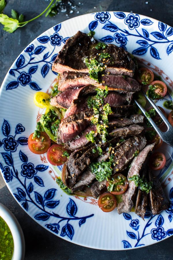 """<strong>Get the <a href=""""https://www.halfbakedharvest.com/grilled-skirt-steak-with-chimichurri/"""" target=""""_blank"""">Grilled Skir"""