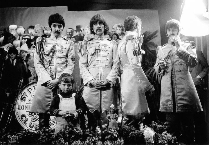 An outtake from the March 30, 1967, cover shoot for <em>Sgt. Pepper's Lonely Hearts Club Band.</em>