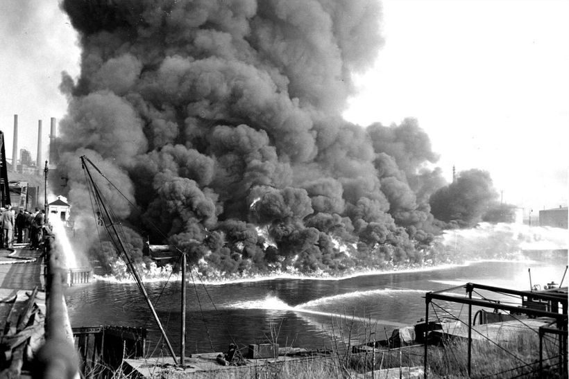 Cuyahoga River on fire 1952. One of many fires.