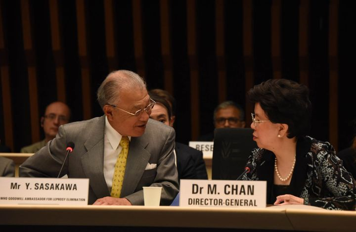 With Director-General Dr. Margaret Chan of WHO at the Global Partners' Meeting on Neglected Tropical Diseases (Geneva, April
