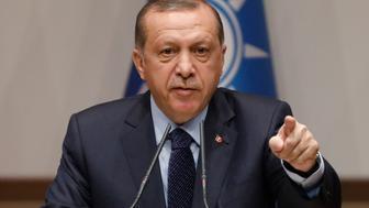 Turkish President Tayyip Erdogan makes a speech at the ruling AK Party's headquarters in Ankara, Turkey, May 2, 2017. REUTERS/Umit Bektas