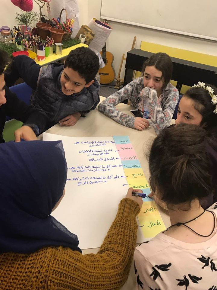 Young children in Jordan at the Abdul Hameed Shoman Foundation, learning business terminology.