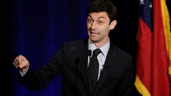 Georgia's Sixth District Congressional candidate Jon Ossoff speaks to his supporters at his Election Night party in Sandy Springs, Georgia, U.S., April 18, 2017.    REUTERS/Marvin Gentry