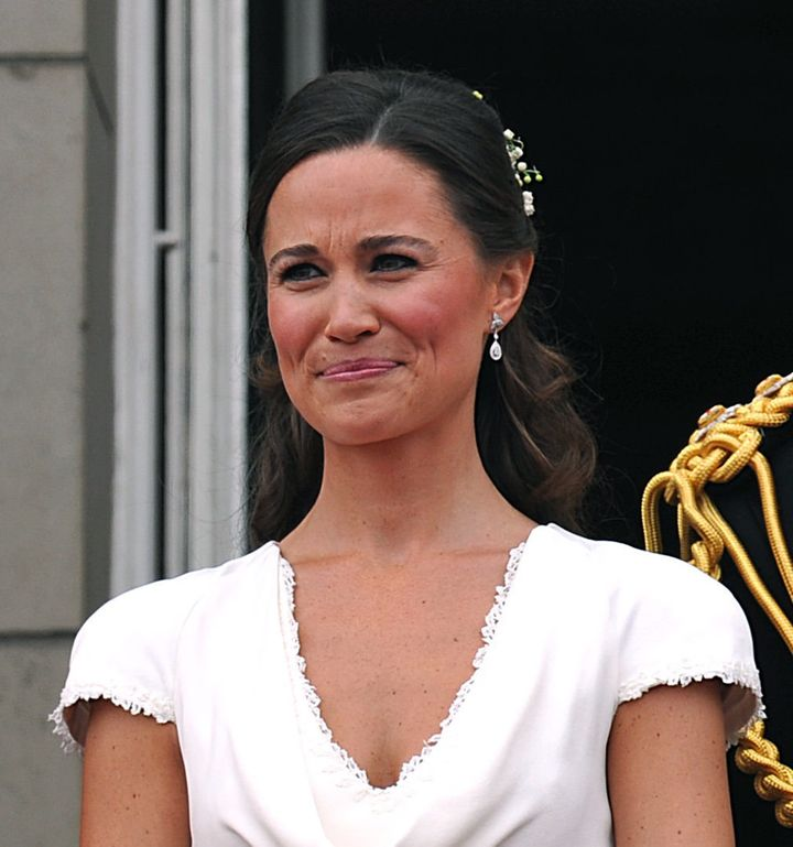 Pippa Middleton stands on the balcony of Buckingham Palace, following the wedding of Prince William and Duchess Catherine at Westminster Abbey in London April 29, 2011.