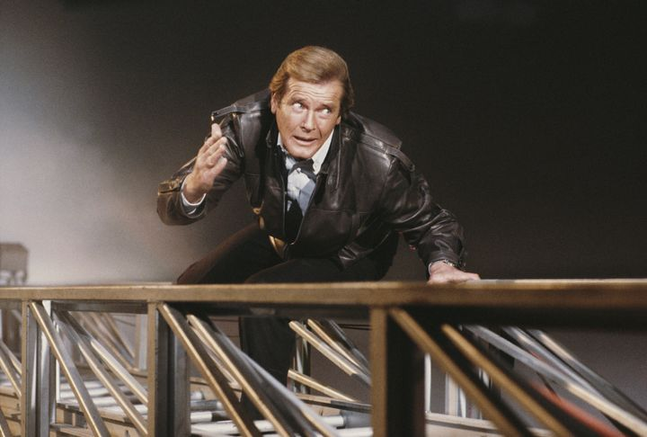 "Roger Moore in a publicity still for ""A View to Kill"" in 1984."