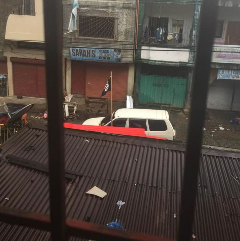 The Islamic State flag has been seen atop vehicles inMarawi where the military has been locked...