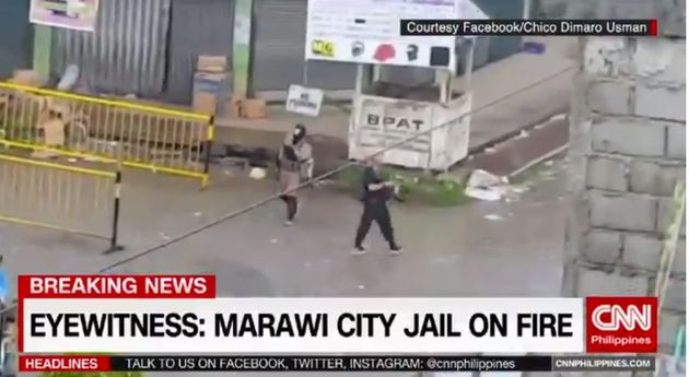 CNN carried a report saying Marawai City Jail was on fire and that a police patrol car had been used...