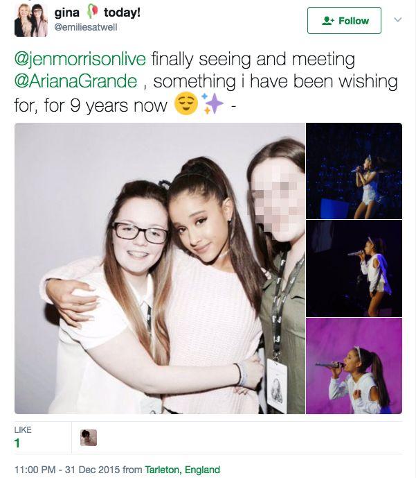 Georgina Callander met singer Ariana Grande in