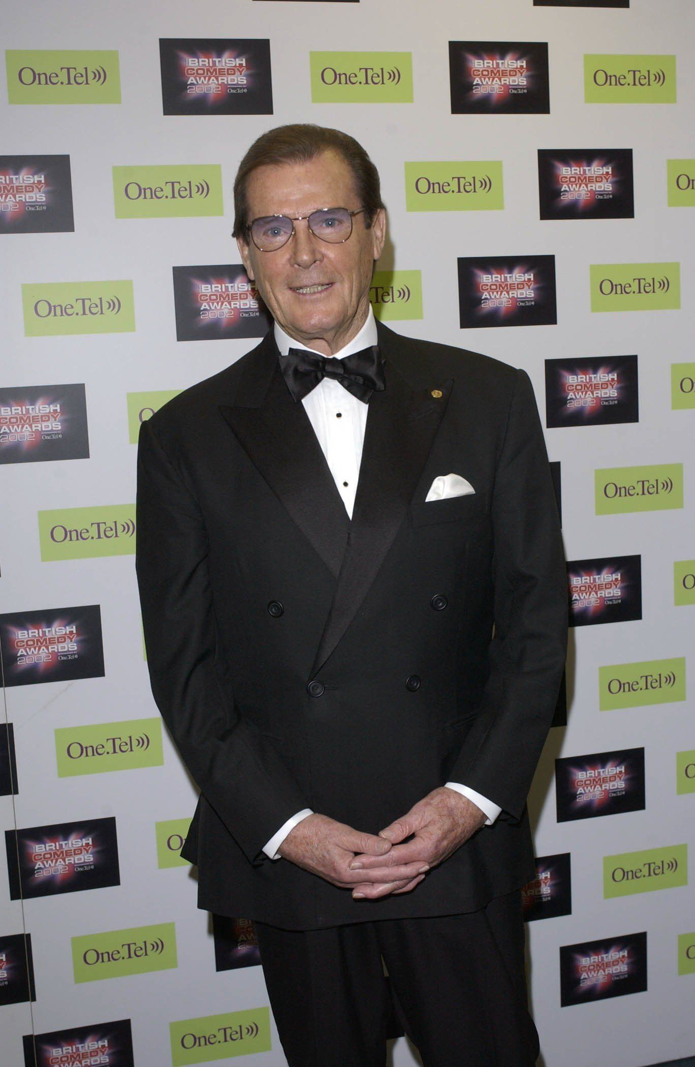 LONDON - DECEMBER 14:  Actor Roger Moore attends The British Comedy Awards held at LWT on the South Bank, London on December 14, 2002.  The star presented an award at the ceremony.  (Photo by Jon Furniss/Getty Images)