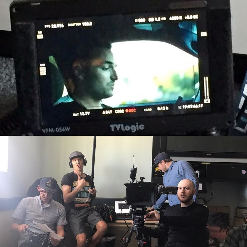 Top: Matt Mendoza, Founder of AddictionUnscripted, being filmed by Facebook. Below: Photo taken during the 14 hour shoot.