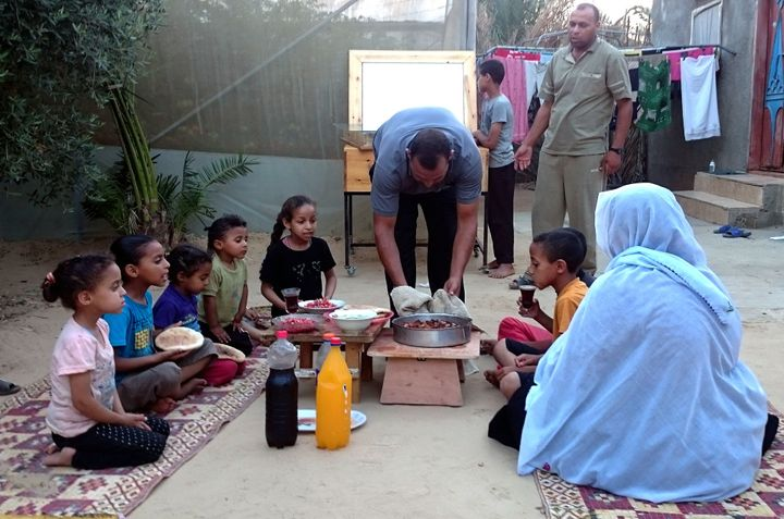 A family sits down for iftar in Gaza