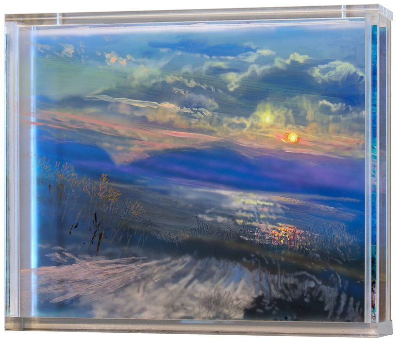 Martin Weinstein, <em>Kenoten, 2 Winter Sunsets</em> (2017), acrylic on multiple acrylic sheets, 11 x 14 inches