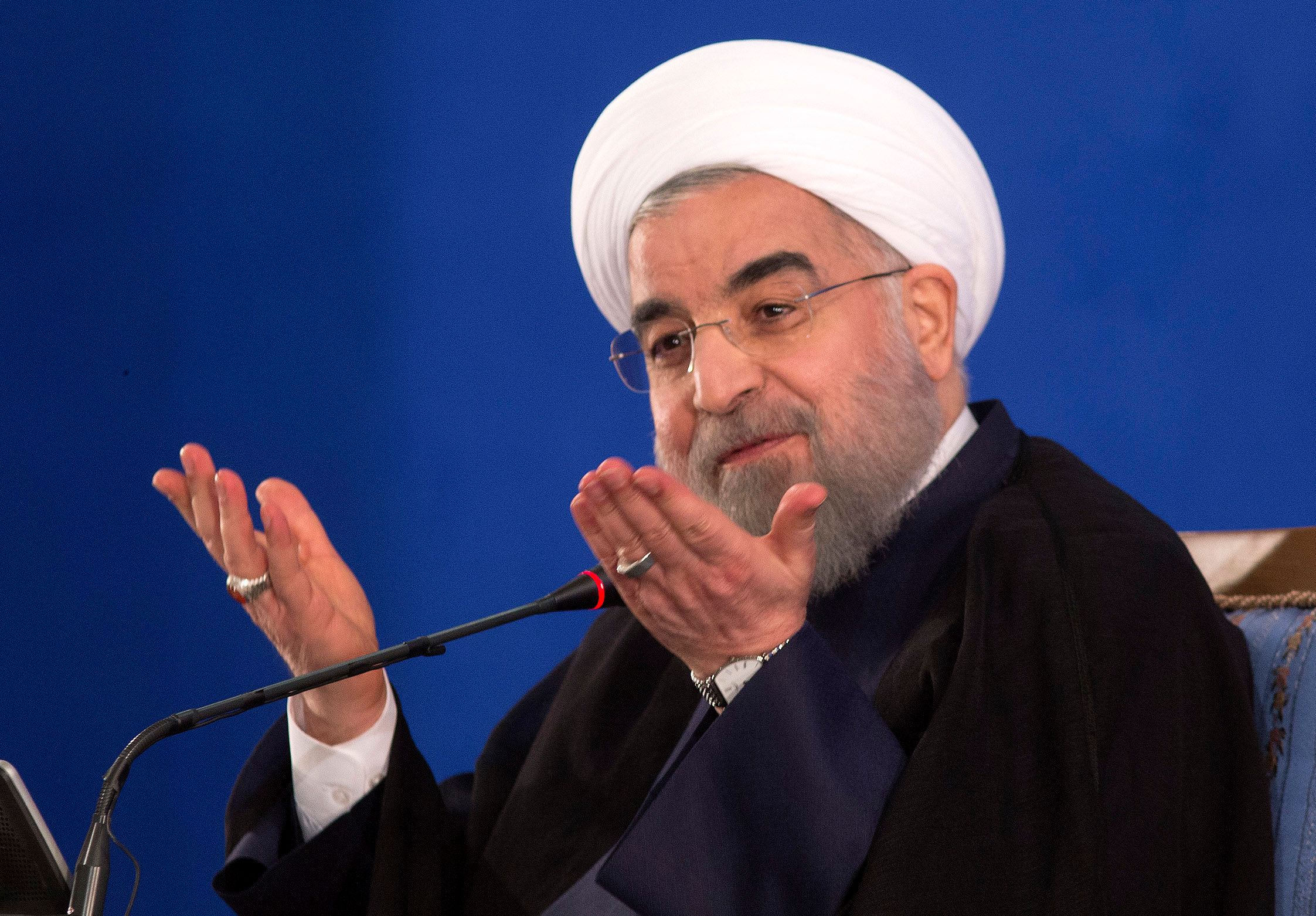 Responding to criticism of Iran from Trump, Rouhani said stability could not be achieved in the Mideast without Teh