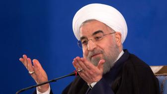 TEHRAN, IRAN - MAY 22: Iranian President Hassan Rouhani gives a press conference on May 22, 2017 in Tehran, Iran.  Responding to criticism of the Islamic Republic from U.S. President Donald Trump, Rouhani said on Monday stability could not be achieved in the Middle East without Tehran's help. (Photo by Majid Saeedi/Getty Images)