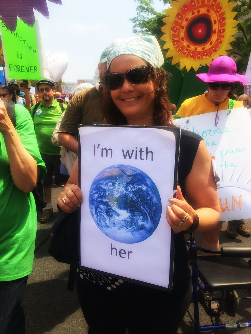The blue marble image of the Earth from Apollo 17 on my sign for the People's Climate March, April 29, 2017