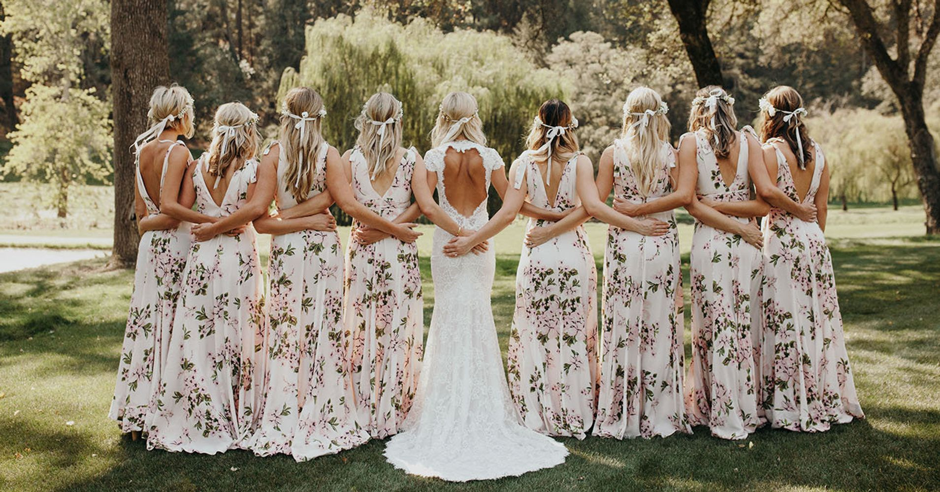Floral bridesmaid dresses are the wedding trend that will grow on floral bridesmaid dresses are the wedding trend that will grow on you huffpost ombrellifo Images