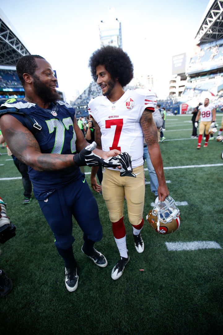 Bennett (left) has been publicly supportive of the Seahawks signing former 49ers quarterback Colin Kaepernick.