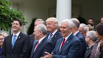 President Trump held a press conference with members of the GOP, on the passage of legislation to roll back the Affordable Care Act, in the Rose Garden of the White House, On Thursday, May 4, 2017. (Photo by Cheriss May/NurPhoto via Getty Images)