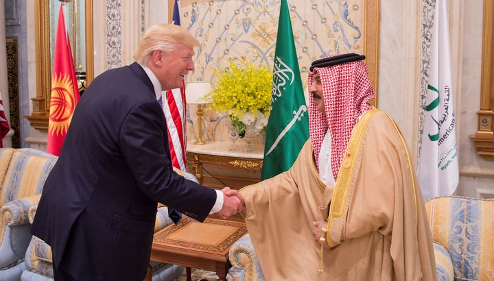 U.S. President Donald Trump shakes hands with Bahrain's King Hamad bin Isa Al Khalifa at the Gulf Cooperation Council leaders
