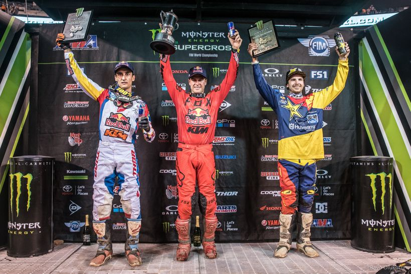 Ryan (center) celebrates the final win of his career at the 2017 New Jersey Supercross flanked by two of his Baker's Factory