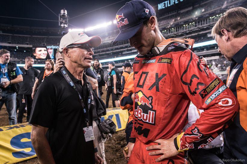 Aldon Baker gives Ryan post-race pep talk in New Jersey, 2017.