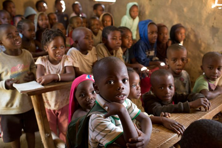 Refugee children from all across eastern and central Africa share a one room school house on April 4, 2017 in the Nakavalie R