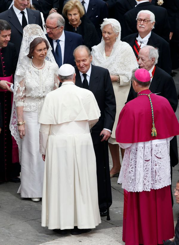 Spain's Queen Sofia and Belgium's Queen Paola exercised theirwhites at thethe canonization of Popes John Paul II