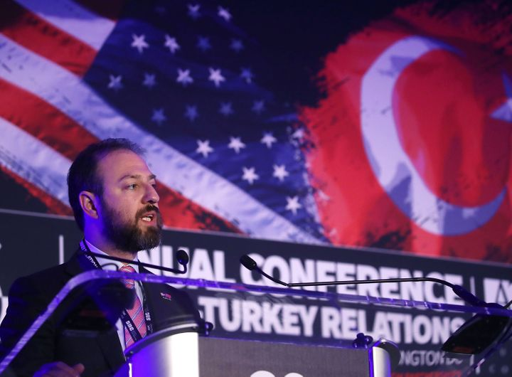 Turkish businessman Ekim Alptekin, chairman of the Turkey-U.S. Business Council, gives opening remarks Monday at the 36th Ann