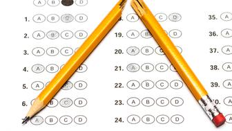 Standardized test form with answers and a broken pencil.