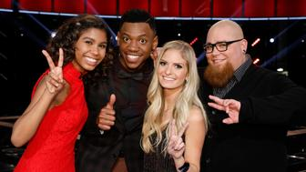 THE VOICE -- 'Live Semi Finals'  Episode: 1218B -- Pictured: (l-r) Aliyah Moulden, Chris Blue, Lauren Duski, Jesse Larson -- (Photo by: Trae Patton/NBC/NBCU Photo Bank via Getty Images)
