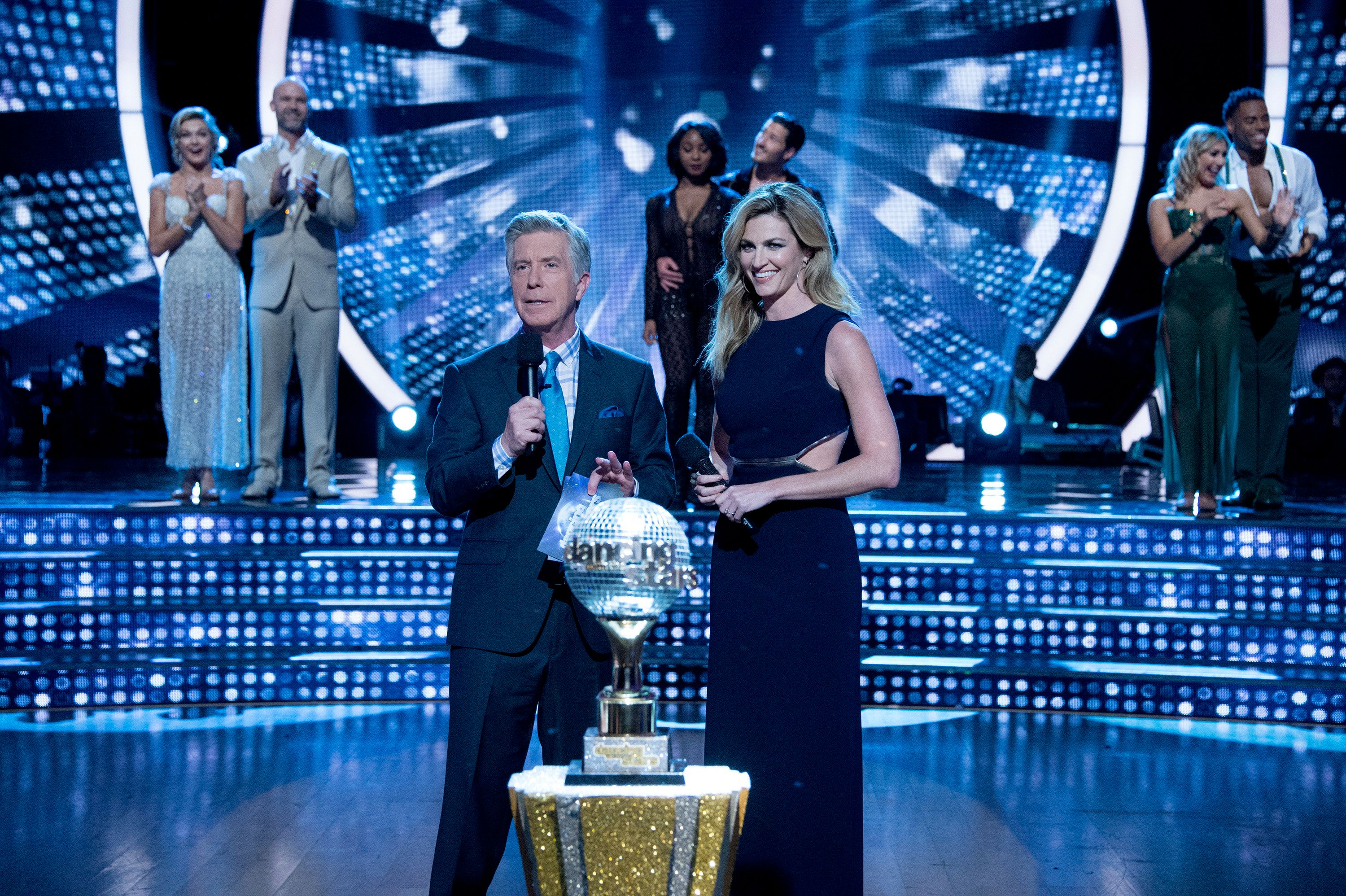 DANCING WITH THE STARS - 'Episodes 2410' - After weeks of stunning competitive dancing, the final three couples advance to the finals of 'Dancing with the Stars,' live, MONDAY, MAY 22 (8:00-9:01 p.m. EDT), on the ABC Television Network. (Eric McCandless / ABC Via Getty Images) TOM BERGERON, ERIN ANDREWS